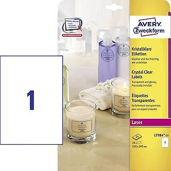 Avery-Zweckform L7784-25 etiketten 210 x 297 mm Polyester film transparante 25 PC('s) permanente All-purpose etiketten, weerbestendige etiketten