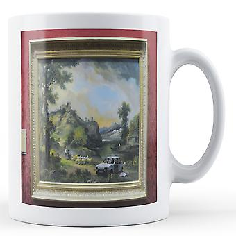 Printed mug featuring Banksy's, 'Scrap Car' artwork