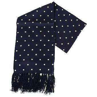 Knightsbridge halsdukar Polka Dot Aviator sidenscarf - Marinblå/vit