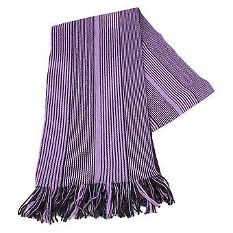 Bassin y bufanda de lana de raya Vaughan marrón - púrpura/negro