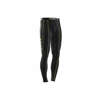 SKINS Men's Organic Sport Compression Long Tights black with yellow stitching - B10001001