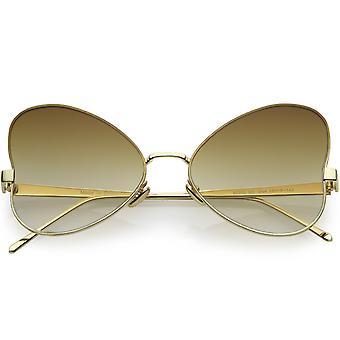 Kobiet Oversize motyl metalowe okulary płaski obiektyw 55mm