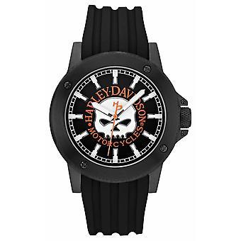 Harley Davidson Mens Black Silicone Strap | Black Dial 78A115 Watch