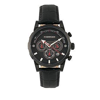 Mórfico M60 série cronógrafo couro-Band Watch w/data - preto