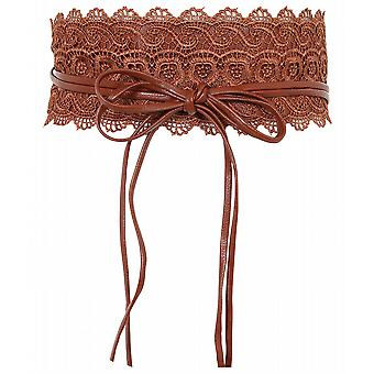 KRISP Kvinders Floral Hæklet Lace Self Tie Wrap Omkring Wide Obi Waist Band Cinch Bælte