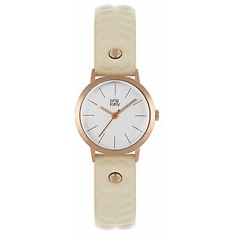 Orla Kiely | Womens Nude Leather Strap | Silver Dial | Rose Gold Case | OK2300 Watch