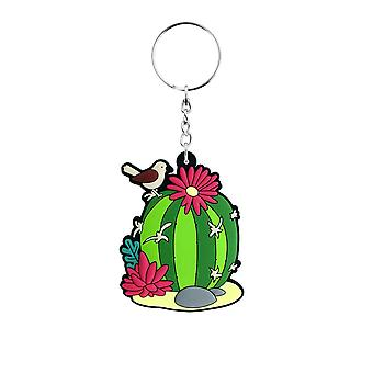 Grindstore Cute Stripy Cacti Rubber Keychain