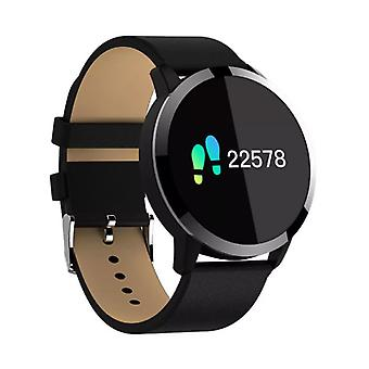 Stuff Certified® Original Q8 Smart Band Fitness Sports Activity Tracker Smartwatch Watch OLED Smartphone iOS iPhone Android Samsung Huawei Black Leather