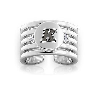 Kent State University Engraved Sterling Silver Diamond Multiband Cuff Ring