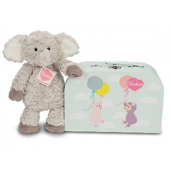 Elefante fofinho Smarty da peluche de Hermann com mala de viagem