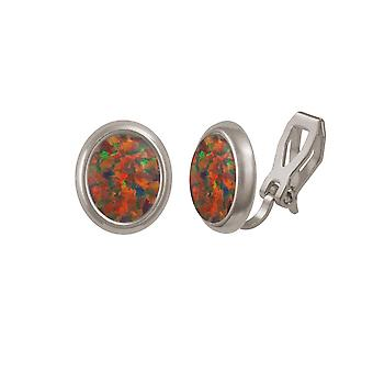 Eternal Collection Minuet Mexican Opal Silver Tone Stud Clip On Earrings (MM)