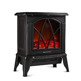 Freestanding Electric Stove Heater 2000W Fireplace with Log Burner Flame Effect