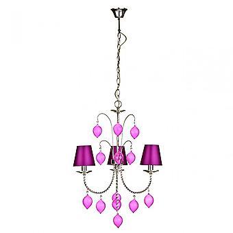 Premier Home csillár, króm, selyem, rózsaszín