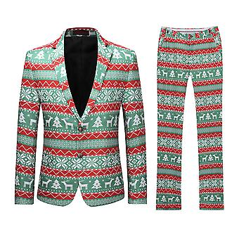 Allthemen Mens Elk &Christmas Trees Printed Suit two-piece (Blazer +Pants)
