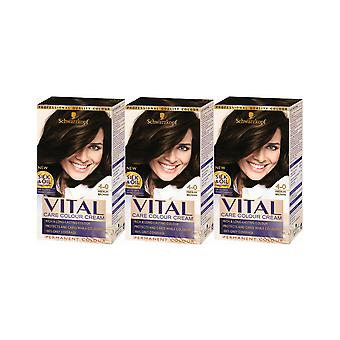Schwarzkopf Vital Colors 4-0 Medium Brown Permanent Hair Colour Dye x 3 Pack