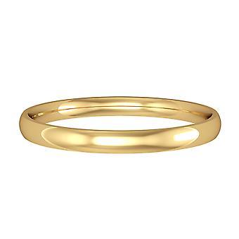 Κοσμήματα Λονδίνο 9ct κίτρινο χρυσό-2mm ουσιώδη σχήμα Δικαστηρίου δέσμευση/δαχτυλίδι γάμου