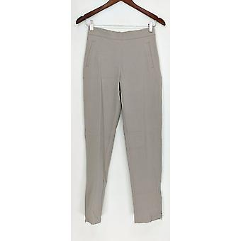 Isaac Mizrahi Live! 24/7 stretch enkel broek met ritssluiting detail grijs A286111