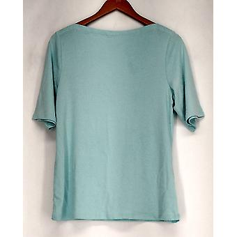 Charter Club 3/4 Sleeve Boat Neckline Top Green Womens