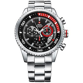 Swiss Military Japanese Quartz Analog Man Watch with SM34042.03 Stainless Steel Bracelet