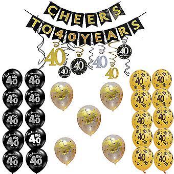 TRIXES 40th Birthday Party Decoration Collection Tema Nero e Oro