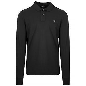 GANT Black Classic Long Sleeve Polo Shirt