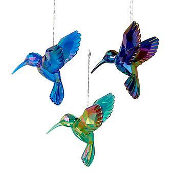 Akryyli vihreä sininen ja violetti hummingbirds loma koristeet sarja 3