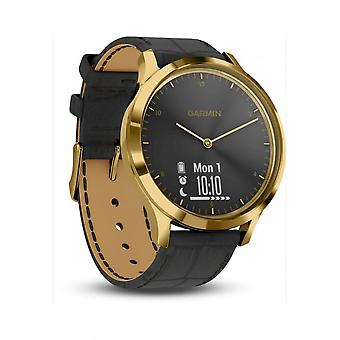 Garmin - Connected Watch - Smartwatch - vivomove HR Premium Gold-Schwarz Leder schw. mit Kroko - 010-01850-AC