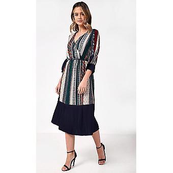 iClothing Miranda Pleated Hem Midi Dress In Mixed Print-16