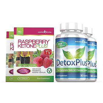 Raspberry Ketone Plus and Detox Colon Cleanse Combo Pack - 2 Month Supply - Fat Burner and Colon Cleansing - Evolution Slimming
