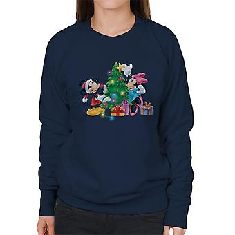 Disney Christmas Tree Mickey & Minnie mouse mulheres ' s camisola