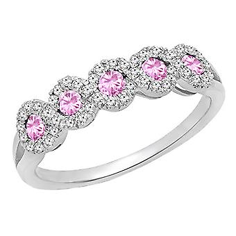 Dazzlingrock Collection 10K Round White Diamond & Pink Sapphire Wedding Stackable Band, White Gold