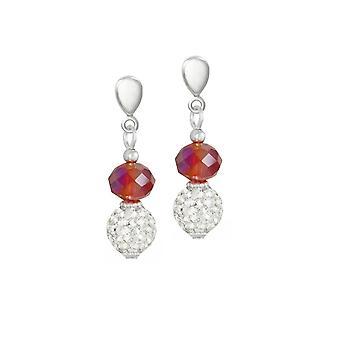 Eternal Collection Majestic Flame Red Crystal Silver Tone Drop Screw Back Clip On Earrings