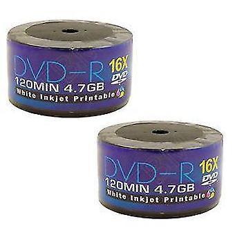 100 AONE DVD DVD-R 16x scrittura dischi vuoti FF White Inkjet Printable (Twin 50 mandrino/Cake Box)
