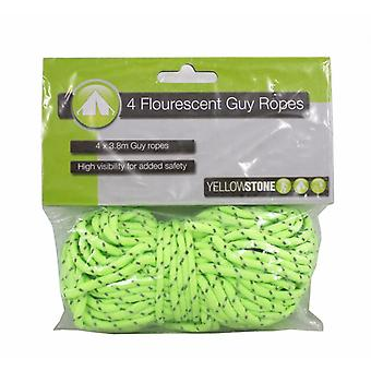 Yellowstone Flourescent Guy Ropes (Pack Of 4)