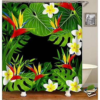 Tropical Flowers And Leaves Shower Curtain