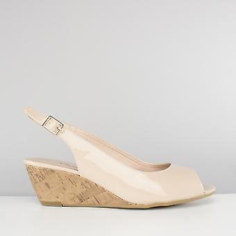 Comfort Plus Alaska Ladies Patent Sling Back Wedge Sandals Nude