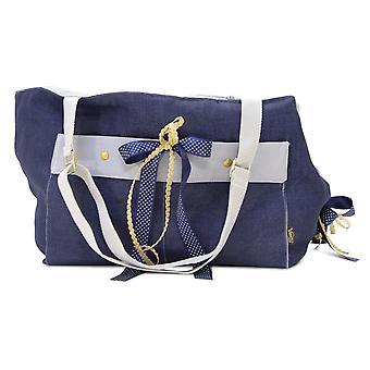 Oh! Denim Dog Carrier Blue and Grey