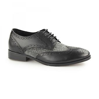 Laceys London Notilla Ladies Leather/canvas Wingtip Brogue Shoes Black/grey