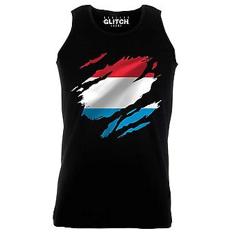 Reality glitch torn luxembourg flag mens vest