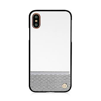 iPhone X Case 50:50 White & Silver Perforation Hard Shell