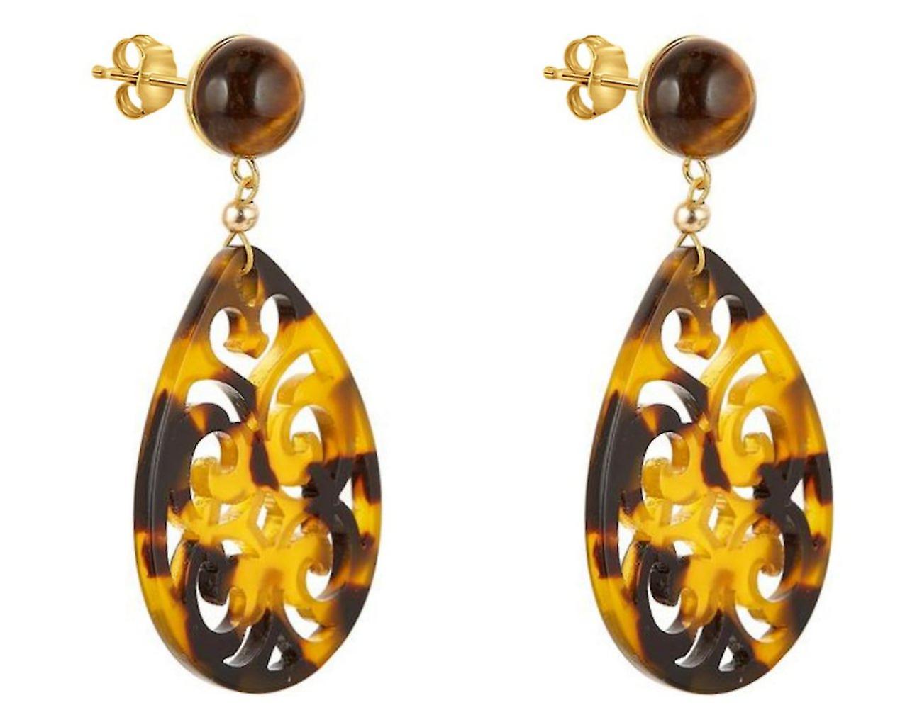 Gemshine Ohrringe Tigerauge und Schildpatt Harz Tropfen 925 Silber Vergoldet