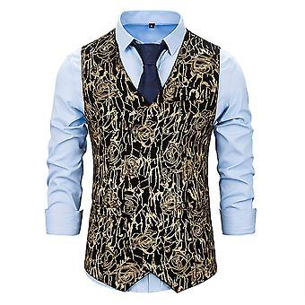 Alltnemen Men's Fashion Gorgeous Patterned V-neck Patterned Suit Vest