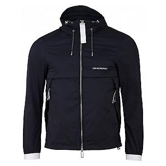 Emporio Armani Lightweight Zip Up Navy Hooded Jacket