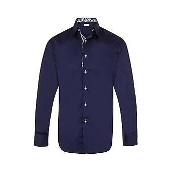 JSS Plain Navy Regular Fit Shirt With Navy & White Paisley Trim