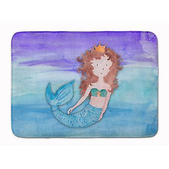 Brunette Mermaid Watercolor Machine Washable Memory Foam Mat