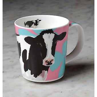Leslie Gerry Bone China Mug, Friesian Cow