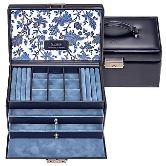 Sacher jewelry case jewelry box FLOR AGE leather blue lock drawers