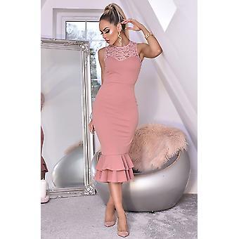 Miranda Lace Fishtail Dress - Pink