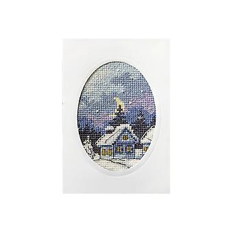 Orchidea Printed Cross Stitch Card Kit - Snowy Christmas Cottage