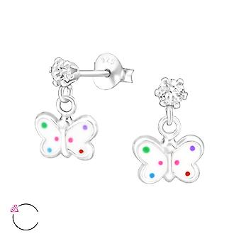 Hanging Butterfly - 925 Sterling Silver Crystal Ear Studs - W32850x
